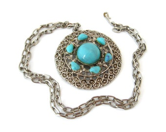 Southwestern Style Faux Turquoise Necklace • Boho Chic Blue Silver-tone Pendant, 24 Inch Long Chain • Vintage 1970s Jewelry