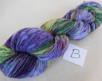 Lupine Sprinkle-Dyed Purple and Green Superwash Merino and Nylon Blend Sock Yarn (Skein B)