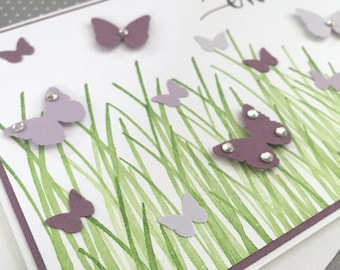 For You Mom with purple butterflies fluttering in green grass - Handstamped Card