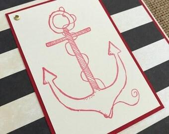 you are my anchor - Nautical Love, Valentines, Anniversary, Birthday - Handmade Greeting Card