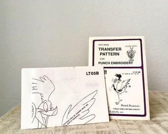 Vintage Transfer Pattern, Warner Brothers Looney Tunes, Road Runner, 1980
