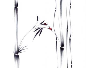 Best of Friends - Original Sumie ink brush pen Ladybug Friendship Painting