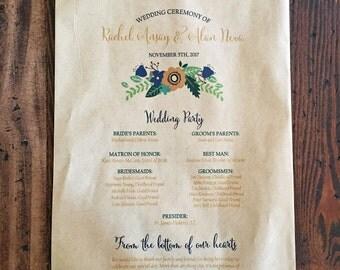 Wedding Program Favor Bag, Rustic Popcorn Bag, Personalized Bag - Kraft