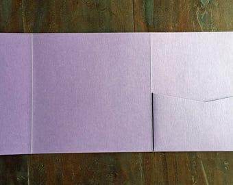 Purple Square Pocket Invitation, Pocketfold, Wedding Invitation, Metallic, DIY Wedding Stationery - 70