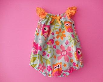 Sunsuit romper playsuit for babies and toddlers Light blue with bright pink owls and orange dot trim