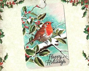 Christmas, Gift Tags, Happy Holidays, Robin, Bird Lover, Christmas Tags