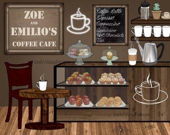 coffee shop, coffeehouse, personalized art print, modern home decor, cafe, latte, espresso, barista gift, coffee kitchen, housewarming gift