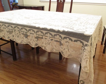 Woven Lace Tablecloth Vintage Tablecloth 1940s
