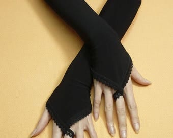 Black Armwarmers with Finger Loop, Fingerless Gothic Gloves with Lace Trim, Fusion Dance, Retro, Evening Gloves, Belly Dance