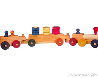 Wooden Toy Stacker Train - Wood Toy Stacker Train, Wood Stacker Train