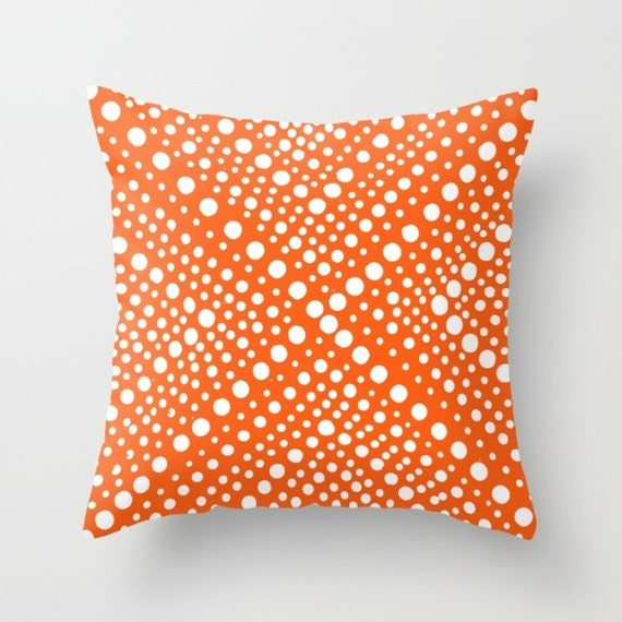 OUTDOOR Throw Pillow - Orange Outdoor Pillow - White Throw Pillow - Modern Geometric Pillow X Dot -  16 18 20 inch - Outside Pillow