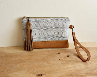 Sweater wallet, wristlet, clutch, pouch accessory Repurposed fashion- leather trim - Ready to ship