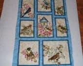 Fabric Wall Hanging Panel Birds Lover Sewing Seamstress Tailor Nap Play Mat Block Bluebird Apple Blossoms Pillows Banner Bunting applique