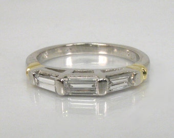 Vintage Platinum Diamond Wedding Ring w 18K Yellow Gold Accents - Baguette Diamond Ring - Appraisal Included