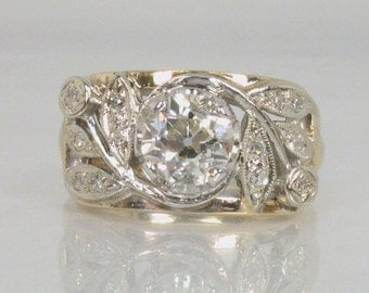 Antique Old European Cut Diamond Ring – 1.14 Carats - Gothic – Kinsley and Sons Inc. - Appraisal Included