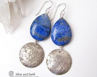 Lapis Earrings, Sterling Silver Earrings, Blue Lapis Earrings, Natural Stone, Handmade Silver Jewelry, Lapis Lazuli Jewelry, Blue Earrings