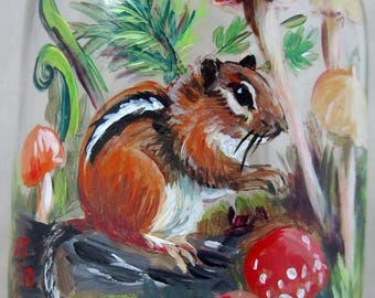 Chipmunk and forest mushrooms, hand painted drinking glass, Kerr pint jar, USABLE art