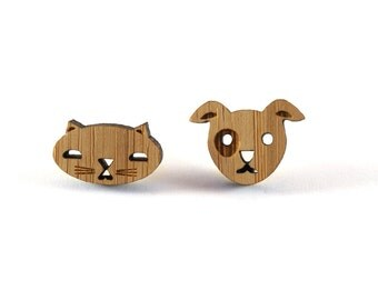Cat & Dog Earring Studs, Mismatched earrings, Wood cat and dog, quirky jewellery