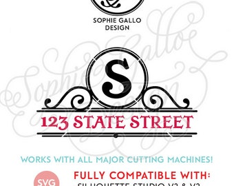 Street Address Monogram Frame SVG DXF PNG digital download files Silhouette Cricut, vector graphics Vinyl Cutting Machines, Screen Printing