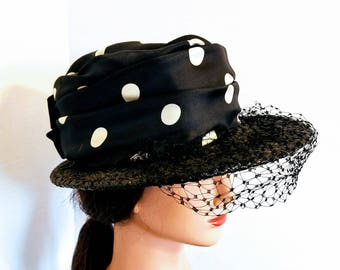 Vintage ladies Black and White Polk a dot Hat with black netting