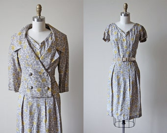 1950s Christian Dior Dress Set - Vintage 50s Silk Dior Dress - Grey Mustard Silk Cocktail Party Jacket Dress Belt S