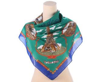 Vintage Paris Scarf 70s  Travel Print Scarf Souvenir Kerchief Eiffel Tower Geography Printed Green Blue Retro Neck