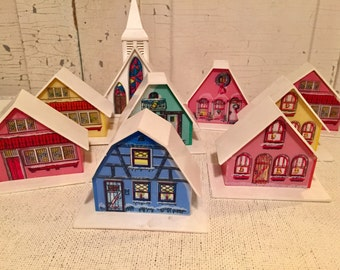 Vintage light up Alpine Village Houses.