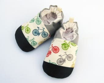 Organic Vegan Fun Bikes with Gray/ non-slip soft sole baby shoes / made to order / babies toddlers preschool