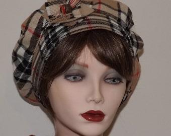 Thompson Camel Tartan Tam for Ladies, Wool Tartan Fabric Hat