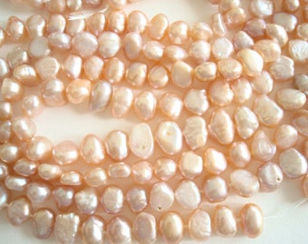 "Peach potato pearls, 4 strands 16"" long, 5-6 mm cultured freshwater pearl beads for jewelry making, embellishment, ornaments, dress design"