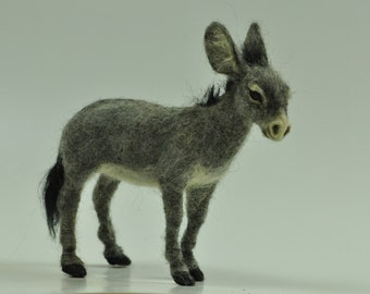 Needle felted Animal . Felted Donkey. Nativity. Made to order