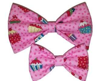 Cupcakes Bow Tie - Party Hair Clip - Pink Clip on Bowtie - Dog Bow Tie - Celebration Cat Bowtie