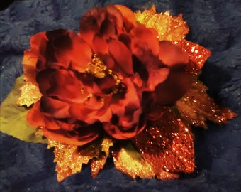 Ruby Red Peony Clip