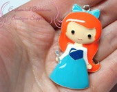 """2"""" Ariel With Dinglehopper Fork Inspired Charm, Little Mermaid Inspired, Chunky Pendant, Keychain, Bookmark, Zipper Pull, Chunky Jewelry"""