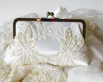 BRIDES CLUTCH, CUSTOM, repurposed from mom's dress/keepsake to pass on -  heirloom, family, mom, grandma)