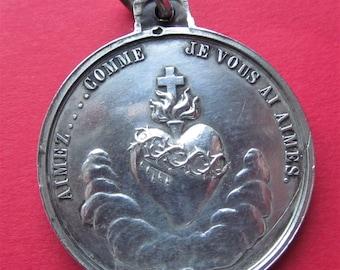 Vachette Sacred Heart Virgin Mary Antique Religious Medal French Silver Pendant  SS29