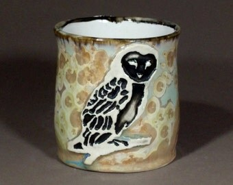Naturalistic Barn Owl Pale Blue Beige Cream Crystalline Glazed Porcelain Mug