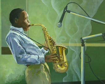 Large African American Art, 30% off Fathers Day/ Graduation sale.  Sax Player, Black Musician, Portrait, Large Original Painting, Wall Art