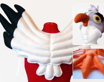 Seagull Costume, Wings Hat Feet. Black & White Wings, Orange Webbed Feet.