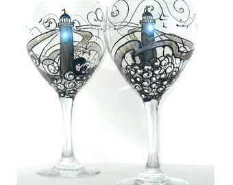 Steel Blue Lighthouse Wine Glass Hand Painted Glassware Wine Goblet