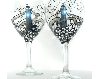 Steel Navy Blue Lighthouse Wine Glass Hand Painted Glassware Wine Goblet Drinkware