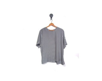 BTS SALE Vintage 90s Oversized Black & White Striped Slouchy Boxy Blouse women l xl 1X vestiesteam plus size indie hipster retro grunge goth