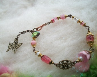 Beaded Bracelet, Pink Glass Beads and Filigree Findings Bronze Butterfly Charm Beaded Bracelet Small Adult or Child