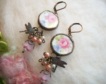 Broken China Earrings with Pink Cabage Rose Recycled Vintage Rose China Earrings Broken China Plates Cups Handmade Jewelry