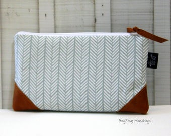 Grey Herringbone with Vegan Leather - Zippered Clutch / Pouch - Accessory Make Up Bag -