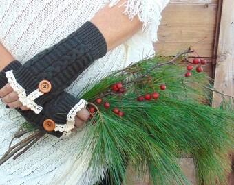 Fingerless Gloves, Knit Fingerless Gloves, Charcoal Grey Fingerless Gloves, Lace Fingerless Gloves, Christmas Gift, Winter Gloves, Mittens