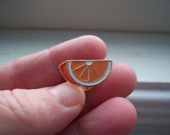 Orange Pin - Fruit Pin  - Food Pin - Orange Slice Pin - Orange Brooch -Foodie Pin -Vegetarian Pin