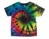Boy's Toddler Tie-dye T-shirt, Size 3T, rainbow & black