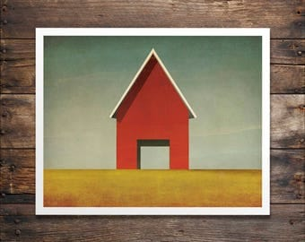 Modern Barn Farmhouse Print Red or White Illustration by Ryan Fowler FRAME NOT INCLUDED
