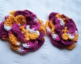 Crocheted flower 3.5 inch batic cotton set of 2 flowers flower motif